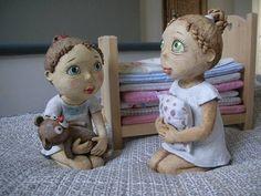 Ooak Dolls, Art Dolls, Ceramic Pottery, Ceramic Art, Paper Mache, Puppets, Painted Rocks, Teddy Bear, Clay