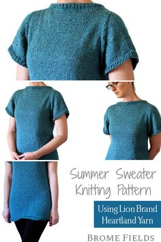 Brome Fields Sweater Shirt Knitting Pattern - Beginner Skill Level - US 9 Needles - Worsted Yarn - Hour Knit Time - 3 Sizes Designer Knitting Patterns, Sweater Knitting Patterns, Knitting Designs, Knitting Projects, Knitting Needle Sets, Circular Knitting Needles, Free Knitting, Spinning Yarn, Summer Sweaters