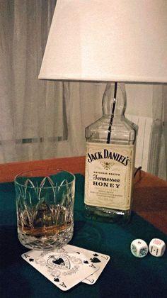 Jack Daniels bottle lamp on poker table Jack Daniels Bottle, Tennessee Honey, Diy Shows, Pinterest Crafts, Lamp Ideas, Recycled Bottles, Bottle Lights, Liquor Bottles, Lamp Shades