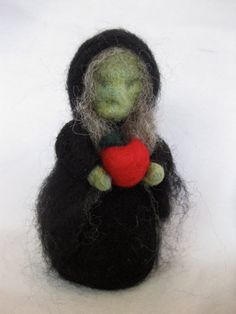Needle-felted Witch with Apple