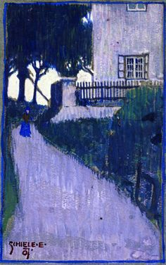 Egon Schiele - Landscape with House, Trees and Female Figure 1907