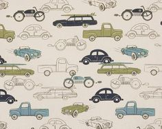 Premier Prints Retro Rides Felix Natural Automobile Fabrics
