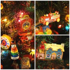 Vintage Fisher Price toy ornaments, my favorite tree to decorate. We keep it in the playroom, it's so cheery! Vintage Fisher Price toy ornaments, my favorite tree to decorate. We keep it in the playroom, it's so cheery! Christmas Past, Christmas Toys, All Things Christmas, Vintage Christmas, Christmas Ornaments, Disney Christmas, Vintage Fisher Price, Fisher Price Toys, Antique Toys
