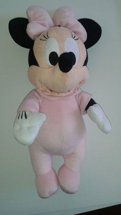 """DISNEY Babies MINNIE MOUSE Pink Stuffed Animal Plush 13"""" Excellent Condition #Disney"""