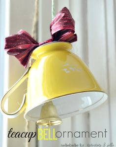 Teacup Bell Ornament. A wonderful DIY ornament to add charm to your tree!