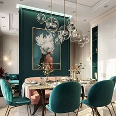 Moscow, Russia - Beautiful emerald green tones to accent this dining room space Post with 0 votes and 212466 views. Moscow, Russia - Beautiful emerald green tones to accent this dining room space Green Dining Room, Luxury Dining Room, Dining Room Design, Dining Room Art, Beautiful Dining Rooms, Dark Dining Rooms, Dinning Room Lights, Dining Room Paneling, Dinning Room Chandelier