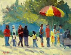 Ice Cream in the Park 11x14 Impressionism Contemporary Art, painting by artist Heidi Malott