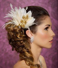 Gold Champagne Bridal Fascinator