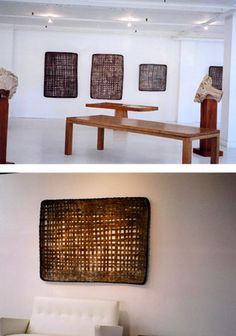 Jonathan Kline black ash trays. I like beautiful rectangular woven baskets for hiding things like utility boxes on walls. They also complement white and wood decor.