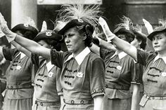 Members of the NS-Frauenschaft give the Nazi salute