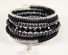 Memory Wire Bracelet Boho Style Statement Wrap Black Bracelet by BelMondoAccessories on Etsy
