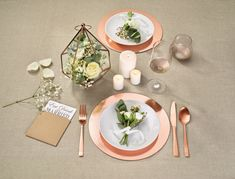 Beautiful copper wedding placement set
