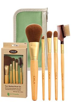 Cala 5 PCS Bamboo Brush Set w Green Pouch ** Visit the image link more details. Brow Brush, Concealer Brush, Makeup Brush Set, Makeup Sets, Korean Beauty Brands, Brow Liner, Eyeshadow Brushes, Eye Make Up, Eyelashes