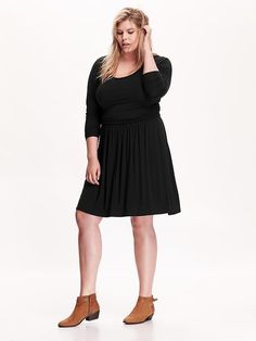 Women's Plus Side-Shirred Jersey Dress