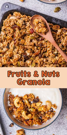 Homemade fruits and nuts granola is healthy snack and breakfast consist of dates honey, granola,seeds, nuts, and dried food. Perfect for diet snack! Egg Recipes For Breakfast, Breakfast Time, Brunch Recipes, Breakfast Ideas, Dinner Recipes, Delicious Recipes, Vegan Recipes, Yummy Food, Healthy Diet Snacks
