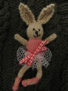 Used the Little Bear Christmas ornament pattern but made it into a rabbit from the Little Cotton Rabbits Teeny Tiny knitted free pattern.