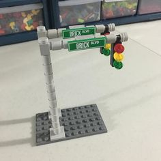Considering a new design for street signs / stop lights #lego #moc #afol #legocity #newhell by zanybricks