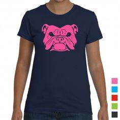 Love this retro style bulldog women's t-shirt. Custom colours available.