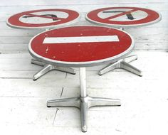 Love the French original road signs, converted to tables.