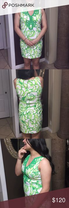 Lilly Pulitzer Dress Very nice white and green print flowers perfect for any occasion.  Dress only worn once for a baby shower. Lilly Pulitzer Dresses