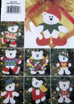 "Soft Stuff Christmas pattern Polar Bear ornament Teddy 6"" 7"" felt NO SEW"