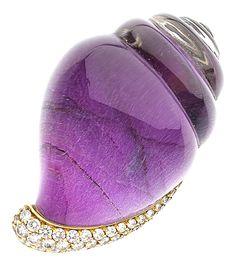 Diamond, Quartz, Gold Brooch, Vhernier. ... Estate JewelryBrooches | Lot #54217…