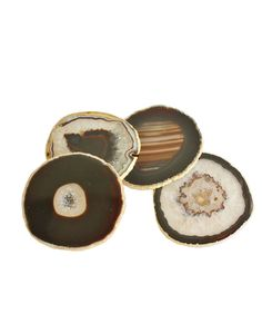 "Set of 4 ""Black"" Agate Coasters with Gold Leaf Edge"