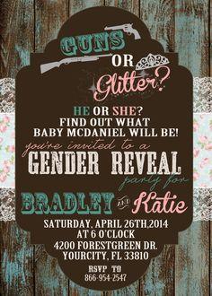Guns or Glitter Gender Reveal Invitation by ChevronDreams on Etsy, $10.00