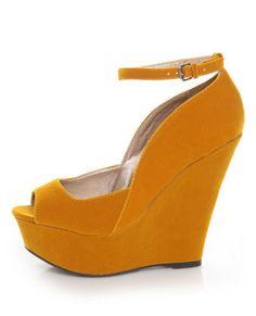 4e3300c1757 Lulu s - Vegan Shoes - Qupid Finder 69 Mustard Velvet Sculpted Peep Toe Platform  Wedges.