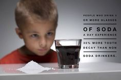 Always choose water instead of soda! Consistent consumption of soft drinks is the leading cause of tooth decay in older kids teens and young adults. Sodas (even diet sodas) and sports drinks greatly weaken tooth enamel! Dental Health, Dental Care, Dental Hygiene, Causes Of Tooth Decay, Dental Kids, Kids Dentist, Dental Group, Dental Center, Pediatric Dentist