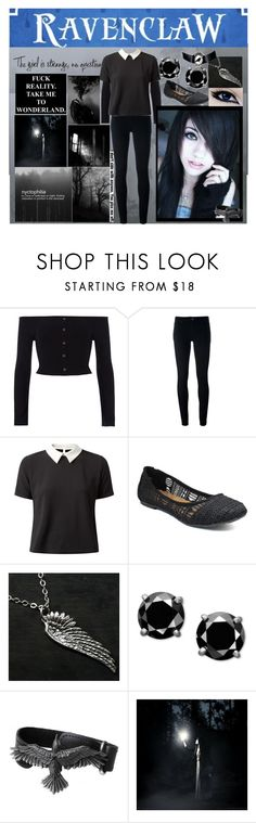 """""""Raven Ange"""" by queen-wonderland ❤ liked on Polyvore featuring River Island, Levi's, Cameo Rose and Jellypop"""