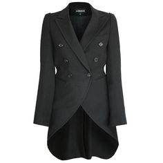 ANN DEMEULEMEESTER black wool tailcoat tuxedo jacket double breasted blazer 38-F #AnnDemeulemeester #Blazer #TailCoat