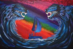 Through Storms and Rainbow Sunsets Storms, Sunsets, Waves, Rainbow, Painting, Art, Rain Bow, Art Background, Thunderstorms