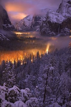 Yosemite Valley at dusk.