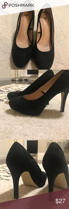 black business casual heels from H&M size 37 worn maybe 3 times, brand new H&M black suede heels. rounded tip. Not super high, very comfortable. H&M Shoes Heels