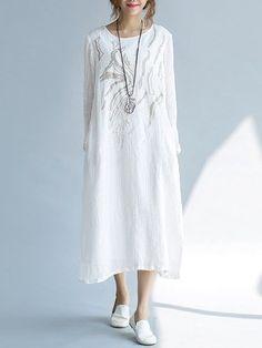 Ladies Vintage Vestidos 2017 New Autumn Loose Robe Women Long Sleeve  Embroidery White Long Dress Breathable Linen Dresses 4a0f31a13b0e