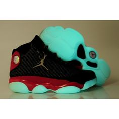 Air Jordan 13 XIII Retro Men Luminous Black/Red Shoes 1055 For $58.60 Go To:  http://www.basketball-mall.com