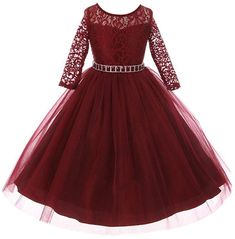 bf7fab470 Girls Dress Lace Top Rhinestones Tulle Holiday Christmas Party Flower Girl  Dress - Burgundy - CR186L7ZDAL