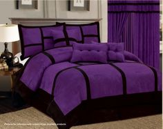 11 Piece Purple Black Comforter Set + Sheet Set Micro Suede Cal King Size Bed in a Bag Bed Sets, Black Comforter Sets, Purple Comforter, Purple Bedding Sets, King Comforter, Black Curtains, Black Bedding, Salons Violet, Bedroom Decor