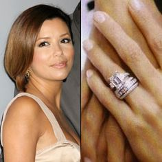 Tony Parker proposed to Eva Longoria with this $150,000 four-carat emerald cut ring with emerald side stones, designed by Jean Dousset. Get the same ring for less, and read more about Eva Longoria and Tony Parker's wedding.Photo: Flynet Pictures