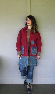Funky upcycled denim Jacket coat/lagenlook von lillienoradrygoods