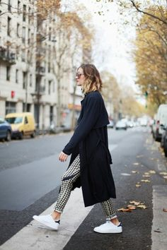trench coat, print pants & sneakers #style #fashion