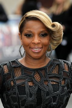 Mary J. Blige Rocking Vintage Roll Updo Hairstyle