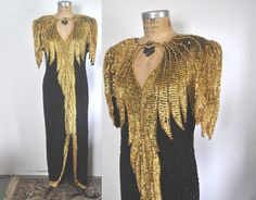 Gold and Black Sequin Dress Gown / TROPHY cocktail / L-XL by badbabyvintage on Etsy