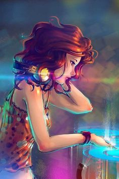 Girl DJ Cartoon Character Illustration feeling music Cute #cartoon pics www.freecomputerdesktopwallpaper.com/humorwallpaper.shtml Thank you for viewing♡