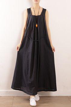52e9b94da1da9 Elegant dark blue linen cotton Robes Fine Sewing Sleeveless drawstring Maxi  Summer Dresses. Summer Dress OutfitsLong ...
