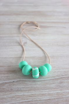 Polymer Clay Bead Necklace Mint Green by MaggieAndMeCreative, $34.00