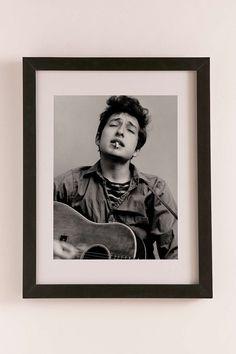 Bob Dylan Portrait With Acoustic Guitar & Cigarette By Michael Ochs/Getty Images Art Print
