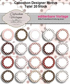 editable Printable Digital Collage Sheet Circles Cabochon Earring