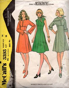 McCall's 3393 Womens High Waisted Dress with Sleeve
